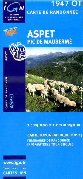 1947OT Aspet. Pic de Mauberme | wandelkaart 1:25.000 9782758516316  IGN TOP 25  Wandelkaarten Franse Pyreneeën