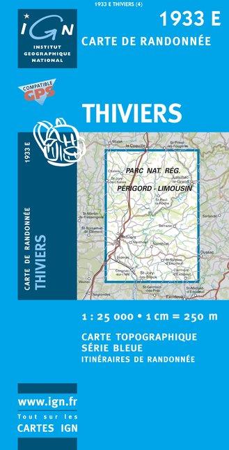 1933 Est  Thiviers 9782758521600  IGN Serie Bleue 1:25.000  Wandelkaarten Dordogne