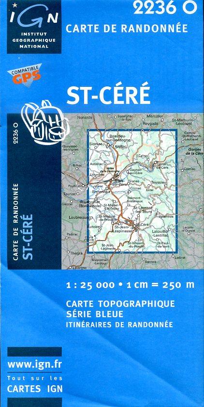 2236 Ouest  St-Céré 9782758521877  IGN Serie Bleue 1:25.000  Wandelkaarten Dordogne, Lot, Tarn, Toulouse