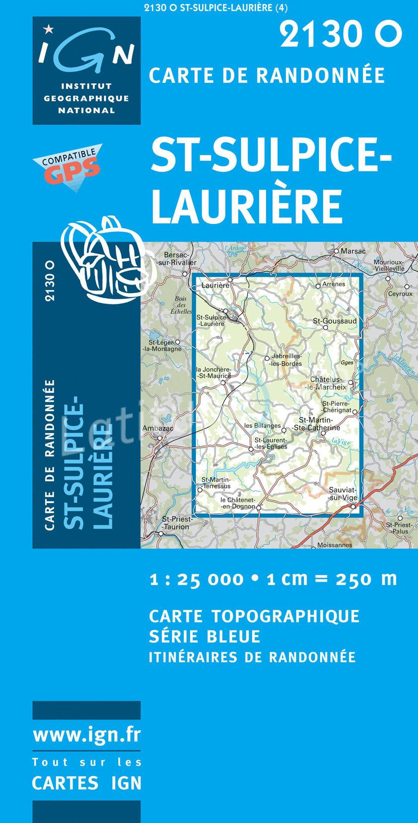 2130Ouest St. Sulpice-Laurière 9782758525394  IGN Serie Bleue  Wandelkaarten Creuse, Corrèze