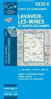 2230Est Lavaleix-les-Mines- St. Sulpice-les-Charmes 9782758525493  IGN Serie Bleue  Wandelkaarten Creuse, Corrèze