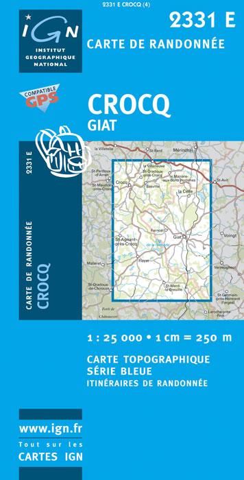2331Est  Crocq, Giat (Creuse) 9782758525585  IGN IGN 25 Creuse & Corrèze  Wandelkaarten Creuse, Corrèze