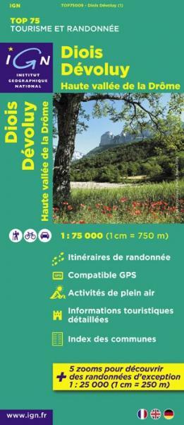 Diois, Devoluy, Haute Vallée de la Drôme | IGN overzichts- en wandelkaart 9782758526544  IGN TOP 75  Landkaarten en wegenkaarten, Wandelkaarten Ardèche, Drôme