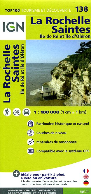 SV-138  La Rochelle, Saintes | omgevingskaart / fietskaart 1:100.000 9782758526711  IGN Série Verte 1:100.000  Fietskaarten, Landkaarten en wegenkaarten, Wijnreisgidsen Vendée, Charente