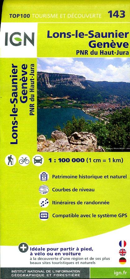 SV-143  Lons-le-Saunier, Genève | omgevingskaart / fietskaart 1:100.000 9782758526759  IGN Série Verte 1:100.000  Fietskaarten, Landkaarten en wegenkaarten Franse Jura