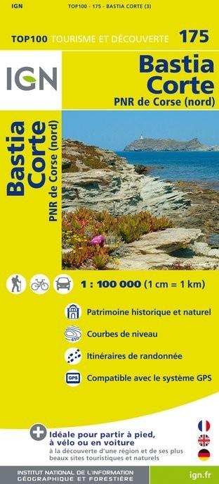SV-175  Bastia/Corte (Corse Nord) | omgevingskaart / fietskaart 1:100.000 9782758527077  IGN Série Verte 1:100.000  Fietskaarten, Landkaarten en wegenkaarten Corsica