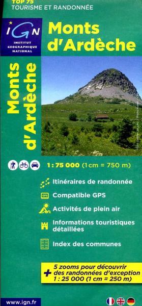 Monts d'Ardèche | IGN overzichts- en wandelkaart 9782758527190  IGN TOP 75  Fietskaarten, Wandelkaarten Ardèche, Drôme