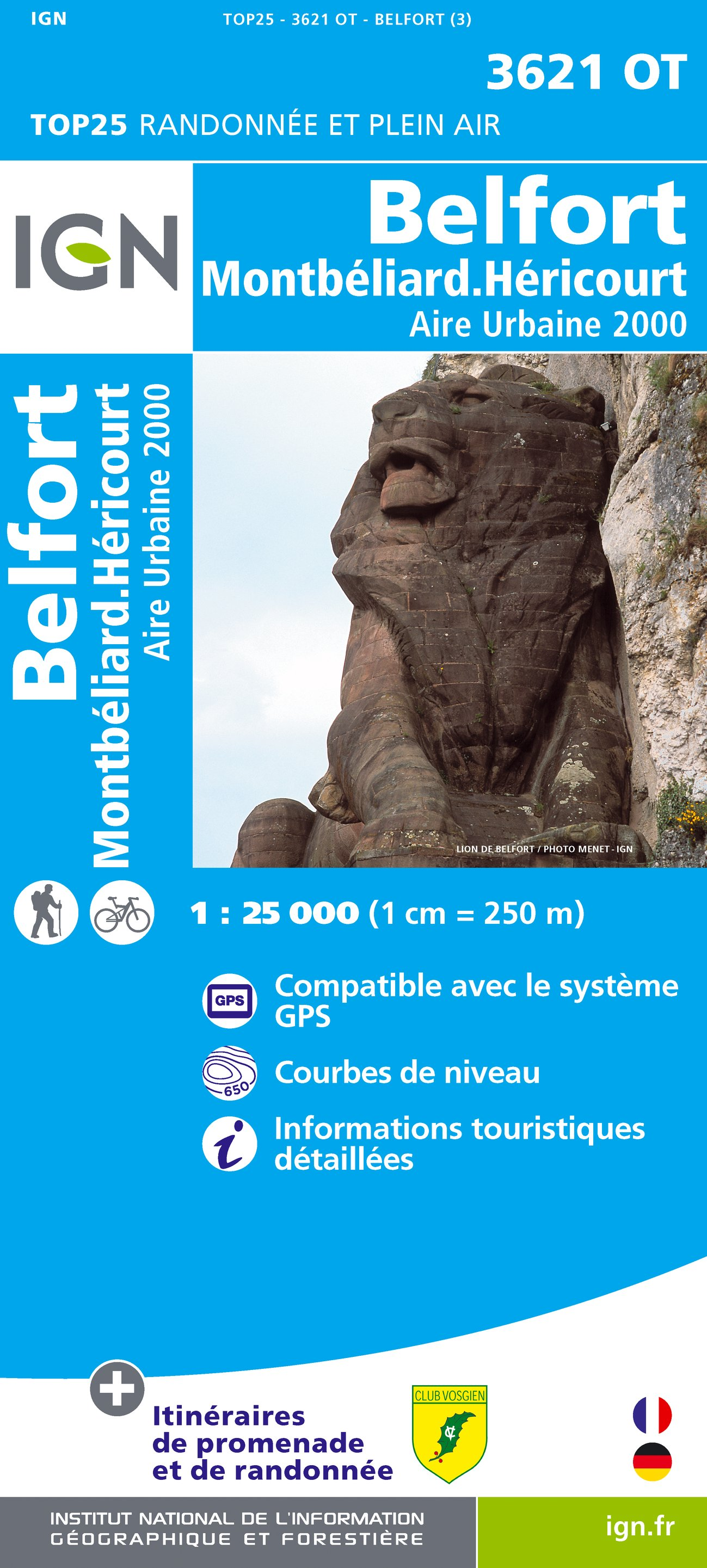 3621OT   Belfort,  Montbéliard | wandelkaart 1:25.000 9782758528074  IGN TOP 25  Wandelkaarten Franse Jura