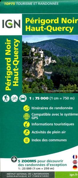 Périgord Noir, Haut-Quercy | IGN overzichts- en wandelkaart 9782758529033  IGN TOP 75  Fietskaarten, Wandelkaarten Dordogne