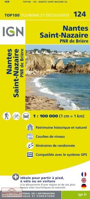 SV-124  Nantes, Saint-Nazaire | omgevingskaart / fietskaart 1:100.000 9782758530121  IGN Série Verte 1:100.000  Fietskaarten, Landkaarten en wegenkaarten Bretagne