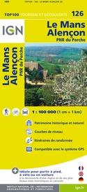 SV-126  Le Mans, Alençon | omgevingskaart / fietskaart 1:100.000 9782758530145  IGN Série Verte 1:100.000  Fietskaarten, Landkaarten en wegenkaarten Loire & Centre