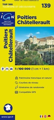 SV-139  Poitiers, Châtellerault | omgevingskaart / fietskaart 1:100.000 9782758530268  IGN Série Verte 1:100.000  Fietskaarten, Landkaarten en wegenkaarten Vendée, Charente