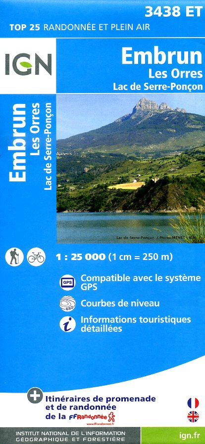 3438ET   Embrun, Lac de Serre-Ponçon | wandelkaart 1:25.000 9782758530985  IGN TOP 25  Wandelkaarten Franse Alpen: zuid