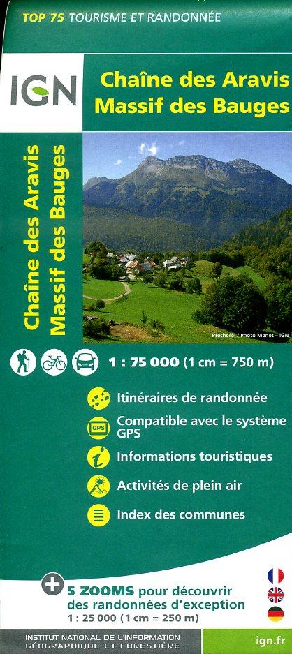 Chaîne des Aravis - Massif des Bauges | IGN overzichts- en wandelkaart 9782758531500  IGN TOP 75  Landkaarten en wegenkaarten, Wandelkaarten Franse Alpen: noord