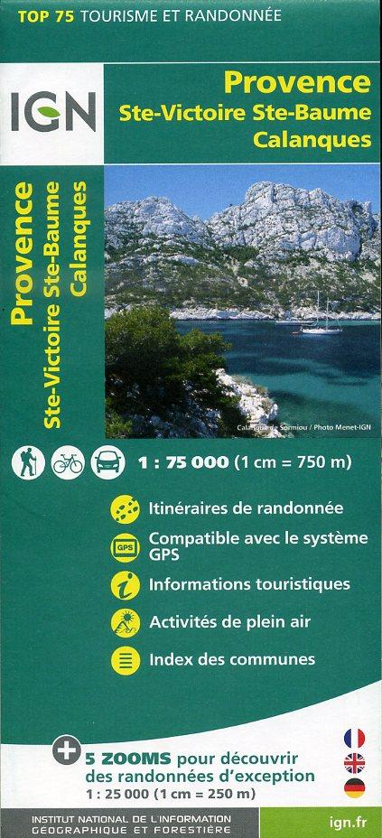 Provence, Ste-Victoire, Ste-Baume, Calanques | IGN overzichts- en wandelkaart 9782758531531  IGN TOP 75  Landkaarten en wegenkaarten, Wandelkaarten Provence, Marseille, Camargue