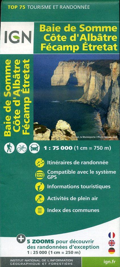 Baie de Somme, Côte d'Albâtre  |  IGN overzichts- en wandelkaart 9782758531548  IGN TOP 75  Fietskaarten, Wandelkaarten Normandië