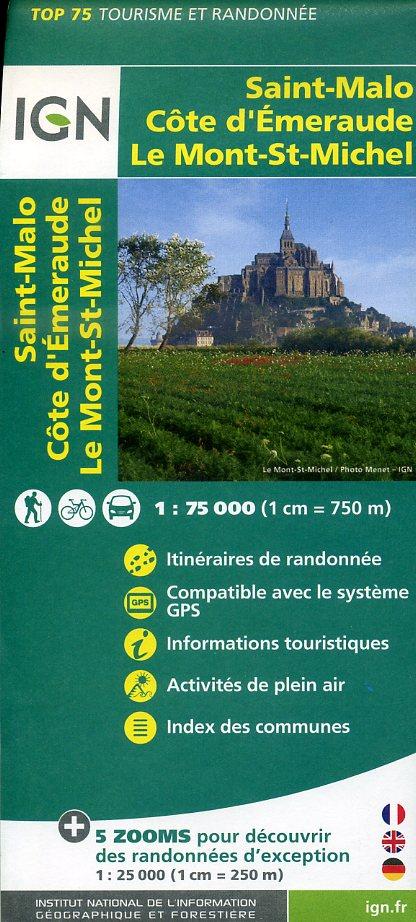 Saint-Malo, Côte d'Emeraude, Mt-Saint-Michel | IGN overzichts- en wandelkaart 9782758531555  IGN TOP 75  Fietskaarten, Wandelkaarten Bretagne