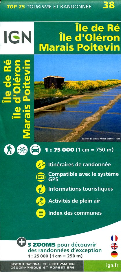 Ile-de-Ré / Ile d'Oléron / Marais Poitevin | IGN overzichts- en wandelkaart 9782758532729  IGN TOP 75  Fietskaarten, Wandelkaarten Vendée, Charente