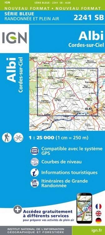 SB-2241SB   Albi  | wandelkaart 1:25.000 9782758533276  IGN Serie Bleue (vernieuwd)  Wandelkaarten Lot, Tarn, Toulouse