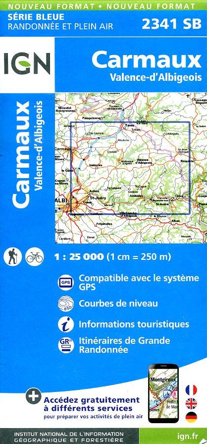 SB-2341SB Carmaux   | wandelkaart 1:25.000 9782758533306  IGN Serie Bleue (vernieuwd)  Wandelkaarten Lot, Tarn, Toulouse