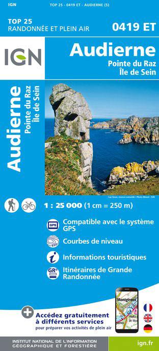 0419ET Pointe du Raz, Audierne | wandelkaart 1:25.000 9782758533658  IGN IGN 25 Bretagne  Wandelkaarten Bretagne