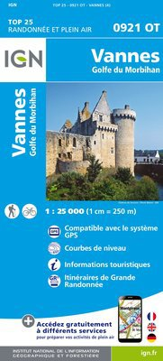 0921OT Vannes, Locqmariaquer | wandelkaart 1:25.000 9782758533696  IGN IGN 25 Bretagne  Wandelkaarten Bretagne