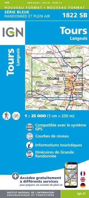 SB-1822SB  Tours - Langeais  | wandelkaart 1:25.000 9782758533948  IGN Serie Bleue (vernieuwd)  Wandelkaarten Loire & Centre
