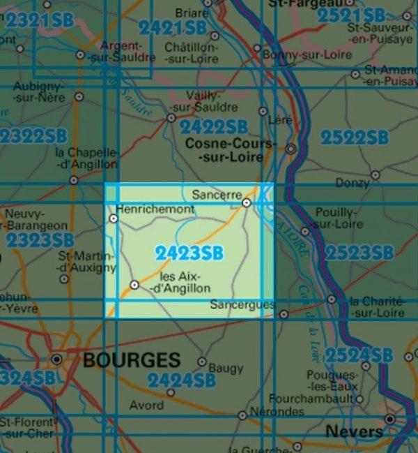 wandelkaart 2423-SB  Les Aix d'Angillon, Sancerre 1:25.000 9782758534242  IGN IGN 25 Loire & Centre  Wandelkaarten Loire & Centre