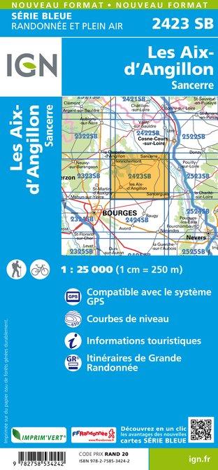 SB-2423SB  Les Aix d'Angillon, Sancerre  | wandelkaart 1:25.000 9782758534242  IGN Serie Bleue (vernieuwd)  Wandelkaarten Loire & Centre