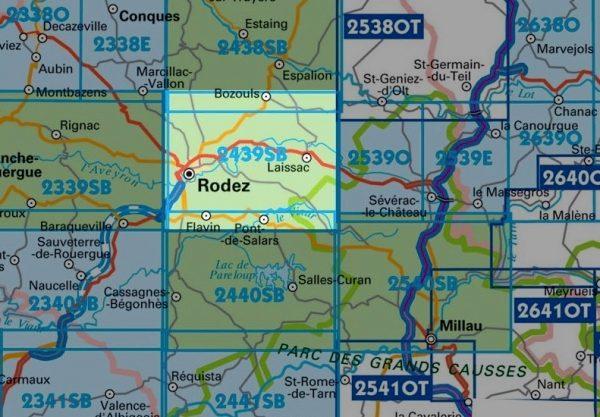 wandelkaart 2439-SB Rodez, Laissac 1:25.000 9782758534273  IGN IGN 25 Lot, Tarn, Aveyron  Wandelkaarten Lot, Tarn, Toulouse