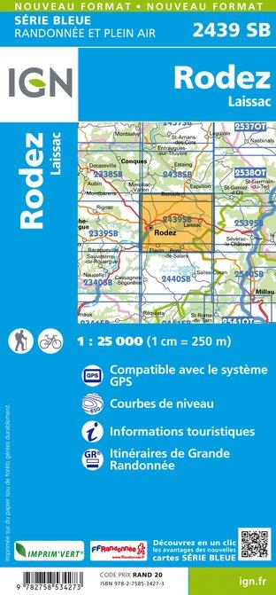SB-2439SB Rodez, Laissac-Séverac-l'Église  | wandelkaart 1:25.000 9782758534273  IGN Serie Bleue (vernieuwd)  Wandelkaarten Lot, Tarn, Toulouse