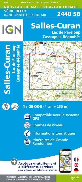 SB-2440SB Salles-Curan | wandelkaart 1:25.000 9782758534280  IGN Serie Bleue (vernieuwd)  Wandelkaarten Lot, Tarn, Toulouse