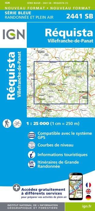 SB-2441SB  Réquista, Villefranche-de-Panat  | wandelkaart 1:25.000 9782758534297  IGN Serie Bleue (vernieuwd)  Wandelkaarten Lot, Tarn, Toulouse