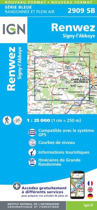 SB-2909SB Regnez, Signy-l'Abbaye  | wandelkaart 1:25.000 9782758534402  IGN Serie Bleue (vernieuwd)  Wandelkaarten Champagne, Franse Ardennen