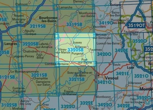 wandelkaart 3320-SB Jussey - Faverney 1:25.000 9782758534457  IGN IGN 25 Lotharingen  Wandelkaarten Lotharingen, Nancy, Metz