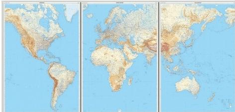 [20b]  Wereldkaart in 3 delen, gelamineerd 1:14m. (natuurkundig) 9782758534907  IGN   Wandkaarten Wereld als geheel