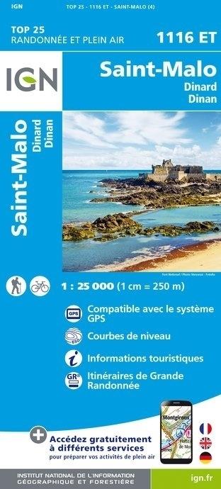 1116ET  St-Malo, Dinard, Dinan | wandelkaart 1:25.000 9782758534969  IGN TOP 25  Wandelkaarten Bretagne