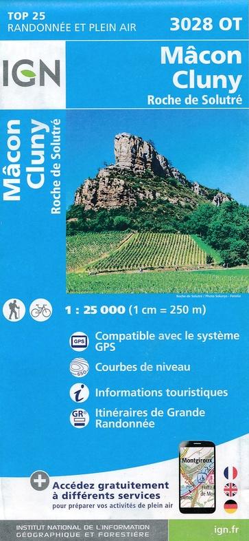 3028OT Mâcon, Cluny, Roche de Solutré | wandelkaart 1:25.000 9782758534976  IGN TOP 25  Wandelkaarten, Wijnreisgidsen Bourgogne