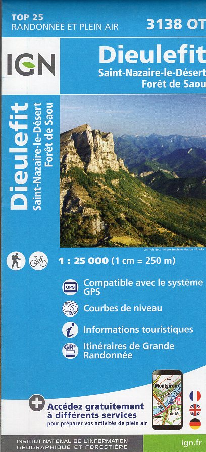 3138OT  Bourdeaux, la Motte-Chalancon | wandelkaart 1:25.000 9782758535065  IGN TOP 25  Wandelkaarten Ardèche, Drôme