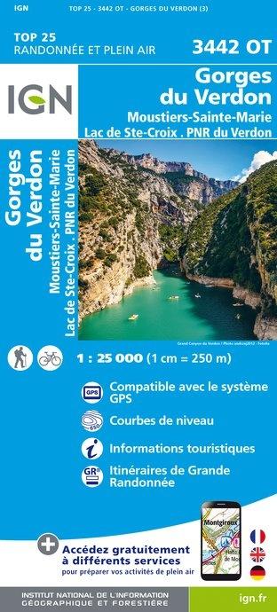 3442OT   Gorges du Verdon | wandelkaart 1:25.000 9782758535102  IGN IGN 25 Franse Alpen/ zuidhelft  Wandelkaarten Franse Alpen: zuid