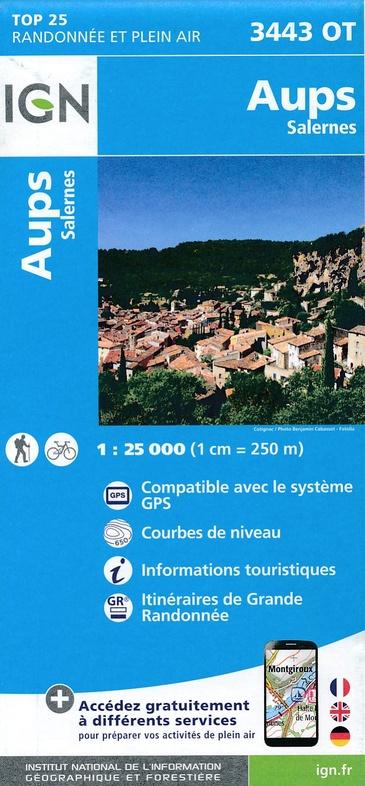 3443OT Aups, Salernes | wandelkaart 1:25.000 9782758535119  IGN IGN 25 Franse Alpen/ zuidhelft  Wandelkaarten Franse Alpen: zuid