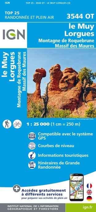 3544OT   Le Muy, Lorgues | wandelkaart 1:25.000 9782758535164  IGN IGN 25 Côte-d'Azur, Var  Wandelkaarten Côte d'Azur