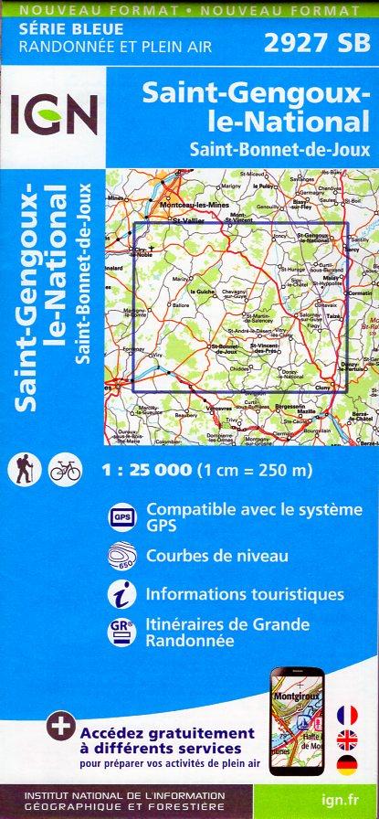 SB-2927SB St-Gengoux-le-National | wandelkaart 1:25.000 9782758535638  IGN Serie Bleue (vernieuwd)  Wandelkaarten Bourgogne