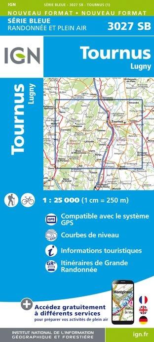 SB-3027SB Tournus, Lugny 1:25.000  | wandelkaart 1:25.000 9782758535652  IGN Serie Bleue (vernieuwd)  Wandelkaarten Bourgogne