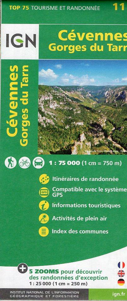 Cévennes (Cevennen) / Gorges du Tarn | IGN overzichts- en wandelkaart 9782758535829  IGN TOP 75  Fietskaarten, Wandelkaarten Cevennen, Languedoc