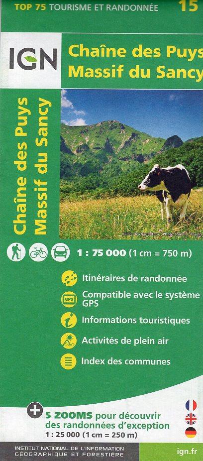 Chaîne des Puys, Massif du Sancy | IGN overzichts- en wandelkaart 9782758535836  IGN TOP 75  Fietskaarten, Wandelkaarten Auvergne