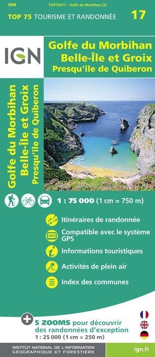 Golfe du Morbihan, Île Groix, Belle Île | IGN overzichts- en wandelkaart 9782758535850  IGN TOP 75  Fietskaarten, Wandelkaarten Bretagne