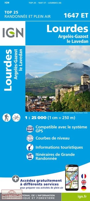 1647ET Lourdes,Argelès-Gazost, Arrens | wandelkaart 1:25.000 9782758535911  IGN TOP 25  Wandelkaarten Franse Pyreneeën