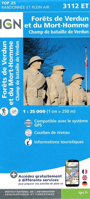 3112ET  omgeving Verdun | wandelkaart 1:25.000 9782758535942  IGN TOP 25  Wandelkaarten Champagne, Franse Ardennen