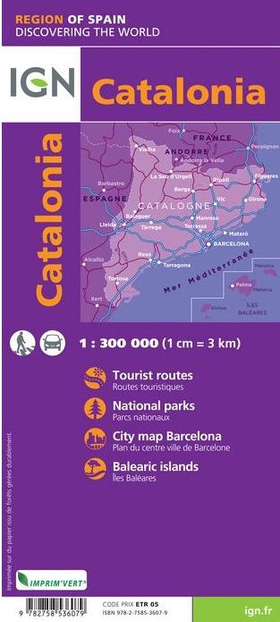 Catalonia (Cataluña) 1:300.000 9782758536079  IGN   Landkaarten en wegenkaarten Catalonië